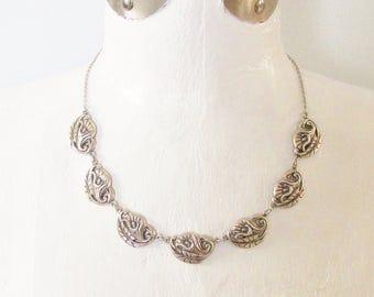 Vintage Sterling Cala Lily Link Necklace signed Danecraft 1950s