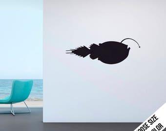 Angler Fish Wall Decal - Ocean, Sea life, Aquarium - Vinyl Sticker