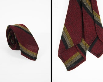 Vintage Rust Red Striped Tie Wool Cravat Necktie Yellow Black