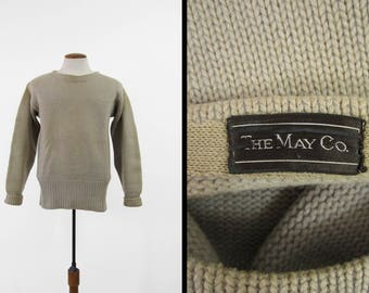 Vintage 1930s Boatneck Sweater The May Company Pullover Wool Ivory Knit Wide Waistband - Medium