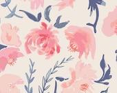 Baby Girl Floral Blanket, Watercolor Flowers Minky Baby Blanket, Ivory Pink Coral Navy Nursery Bedding Girl Crib Bedding Boho Flower Bedding