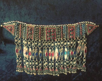 Vintage Afghani Choker for bohemians and belly dancers.