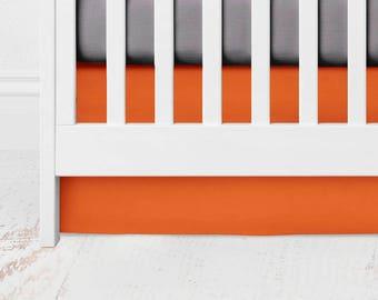 Orange Straight Crib Skirt -  Kona Cotton - Orange Crib Skirt - Orange Baby Bedding - Crib Bedding
