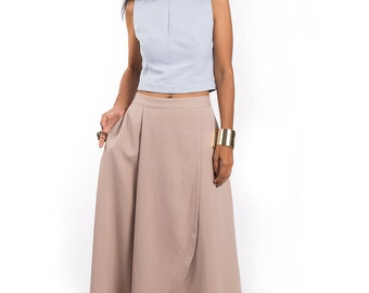 Beige Skirt, split skirt, maxi skirt, long light brown skirt, soft brown skirt, women's skirt : Feel Good Collection No.5