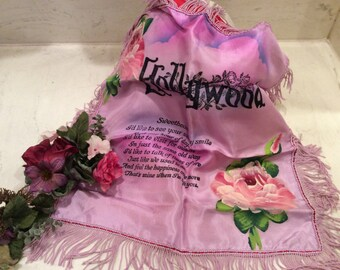 Vintage Satin Hand Painted Rosed Hollywood Sweatheart Fringed Pillow Cover, Vintage Linens, Vintage Pillow