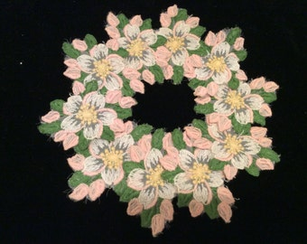 Vintage Voile Embroidered  Lace Flower Medallions-Pink Green and White, Vintage Medallions, Vintage Appliqués
