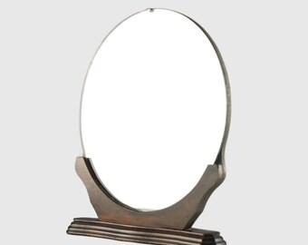 Vintage Art Deco Free Standing Round Table Vanity Mirror with Wood Pedestal Base