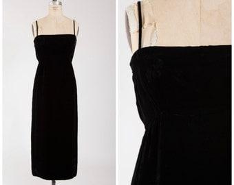 Vintage 1960s Designer Gown • Heaven Can Wait • Black Velvet 60s Dress by Sarmi Size Medium