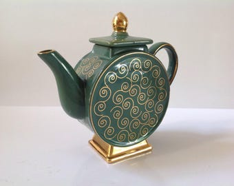 Decorative Round Green and Gold Teapot, Vintage Teapot, Teapot Display, Tea Party