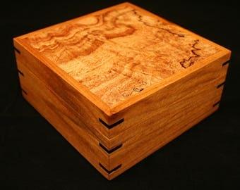 Jewelry box, Watch box, Heirloom box, Keepsake box, Lift lid, Wood box, Canary wood, Spalted  Maple Burl, Ebony (SB0080)