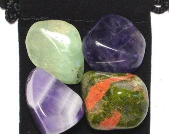 VISUALIZATION Tumbled Crystal Healing Set - 4 Gemstones w/Description & Pouch - Amethyst, Chevron Amethyst, Prehnite, and Unakite