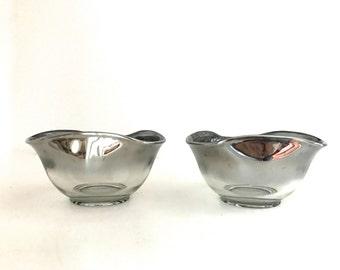 Vintage silver or platinum rimmed bar glass dish