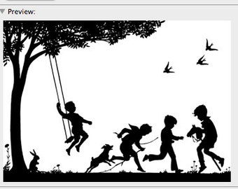 Children Playing Boys Summer Day Silhouette - Digital Image - Vintage Art Illustration