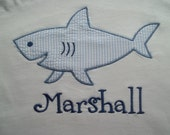 Shark - Short Sleeve Appliqued Tshirt - Infant and Toddler Size Tshirt - 6 months to 5/6