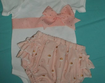 Infant Girls Onesie and Diaper Cover Set - Flamingo print - Sizes Newborn to 24 Months
