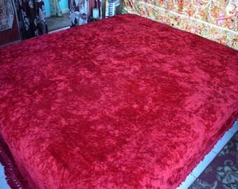 """Red Velvet Bedspread, Bohemian, 93""""w. x 108""""l."""