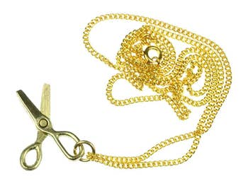 Scissors Necklace Miniblings Hairdresser Sewing Craft 60cm golden