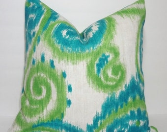 HARVEST SALE NEW Outdoor Pillow Teal Green Natural Ikat Print Cushion Cover Porch Decorative Pillow 18x18