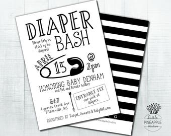 Diaper Bash Black and White Baby Shower Invite DIY Printable