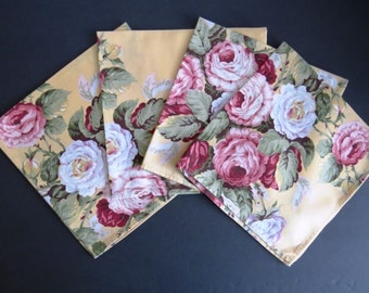 Ralph Lauren Kathleen Napkins - Set of 4 - Pink White Rose Peonies on Bright Yellow - Shabby Chic Country Cottage Chic - Retired Pattern