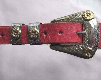 Vintage Women's 4 piece Solid Nickel Silver Western Buckle Set on Real Red Leather & Faux Snakeskin Belt, Size S, Lighthouse Footwear - NOS