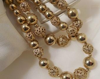 1960s Coro Double Strand Necklace/Choker, Vintage Signed Coro Jewelry, Gold Filigree Coro, Coro Gold Jewelry, 60s Fashion Jewelry by Coro...