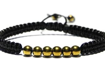 Mens Beaded Bracelet, Black Cord Bracelet, Gold Bead Bracelet, Hematite Bracelet, Adjustable, Mens Gift, Boyfriend Gift, Mens Jewelry
