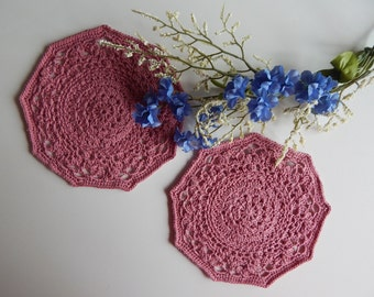 "Pair of Crochet Doilies - Mauve Rose Round - Lacy Small 5 1/2"" - Set of 2"