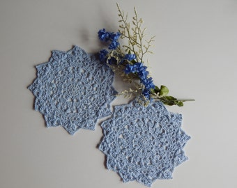 """Crochet Mini Doilies - Powder Blue - Pair of Lacy Small 7 1/2"""" - Set of 2"""