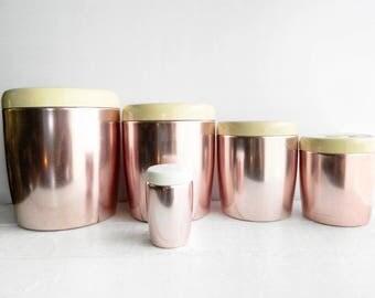 4 Vintage West Bend Nesting Canisters & Bonus Shaker - Rose Gold Spun Aluminum Copper - Sugar Coffee Tea Canisters for Kitchen Storage