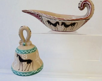 Lovely Pair Vintage Handpainted Italy Pottery, Etruscan Style Bell & Candlestick, Decorative Homewares, Bisqueware Ornaments, Souvenirs