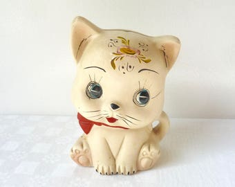 1960's 70's Vintage, European Kitsch, Cute, Stylised, Hand-painted Shy Kitty Bisqueware Money Bank, Pottery Kitty Bank, Plaster Figurine
