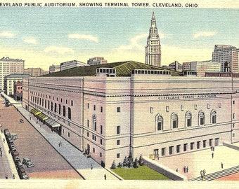 Cleveland, Ohio, Cleveland Public Auditorium, Terminal Tower - Vintage Postcard - Postcard - Unused (ZZ)