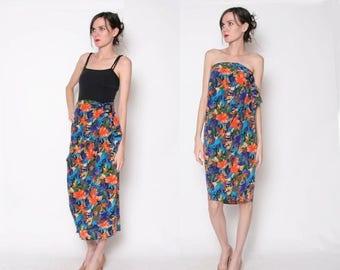 ON SALE Vintage 80s Floral Wrap Skirt Dress / Long Skirt /S M
