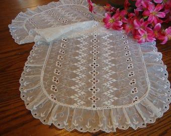 Sheer Dresser Scarf Vintage White Eyelet Lace Table Runner Vintage Table Linens