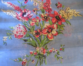 Vintage Tablecloth with Sprays of Pink Flowers