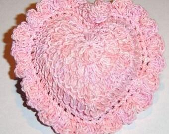 SALE! Pink Hand-Crocheted Heart Pincushion