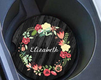Monogram Car Coaster Set, Personalized Car Coaster, Floral, Cup Holder Coasters
