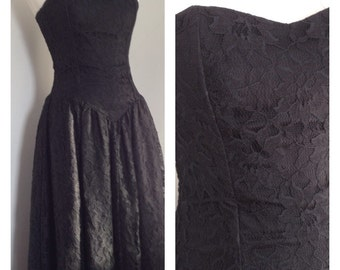 1980's Black Strapless Lace Dress Prom  Small