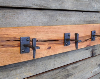 Handmade Blacksmithed Hooks for Coat Rack on Black Oak