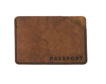 Minimal Passport Holder in Brown Leather. passport cover travel gift for him her, personalized, veg tan