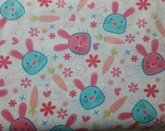 Snack bunny Bunnies and carrots on white  by Micheal Miller fabric