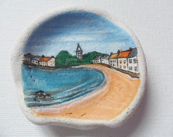 Anstruther beach Scotland - Original miniature painting on Scottish sea pottery