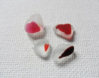4 little red on white English sea glass multis - Seaham beach finds
