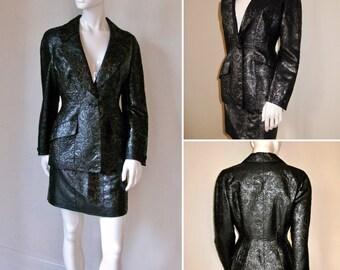 Vintage 1980s Thierry Mugler Black Floral Mini Skirt Suit
