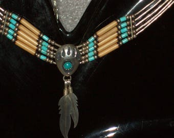 Sterling Silver Southwestern- Turquoise Native American Bear Paw- Liquid Silver