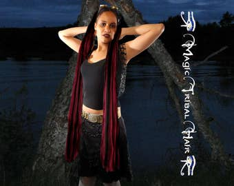 GOTHIC HAIR FALLS  2x ponytail hair piece 39''/100 cm long Custom Color Goth hair braid extensions Tribal Fusion Belly Dance hair accessory