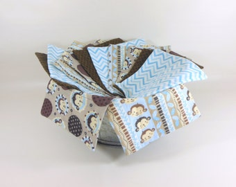 Cloth Wipes, Washcloths, Burp Cloths, Handkerchiefs, Napkins Set of 12 in Monkey, Blue, & Brown Prints