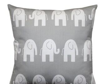 SALE Animal Pillow, Storm Grey Elephant Pillow Cover, Grey Pillow Sham, Zippered Pillow, Nursery Decor, Baby Bedding, Toddlers Room, Kids Pi