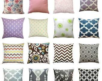 CLEARANCE Throw Pillows, Decorative Pillow Cover, Toss Pillow, 18x18 Zippered Pillow, Accent Pillow, Grey Pillow, Yellow Pillow, Blue Pillow